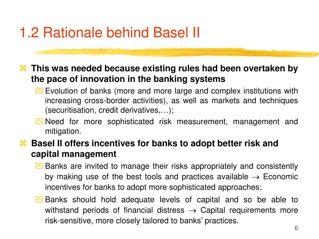1.2 Rationale behind Basel II