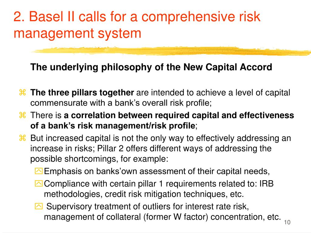 2. Basel II calls for a comprehensive risk management system