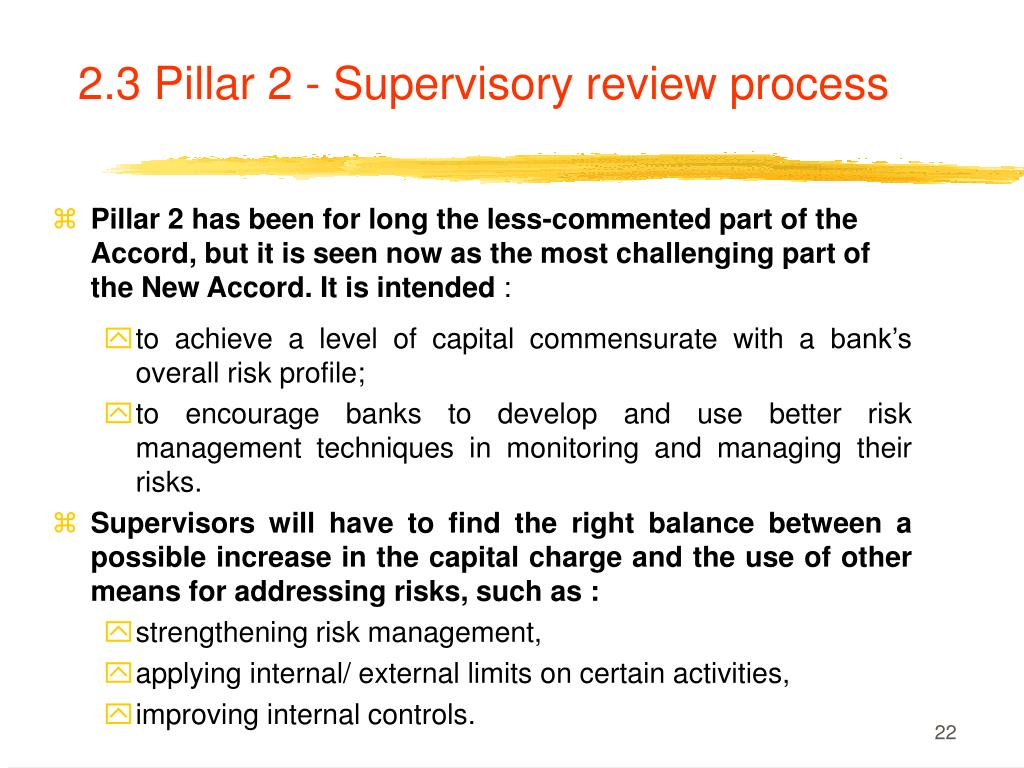 2.3 Pillar 2 - Supervisory review process