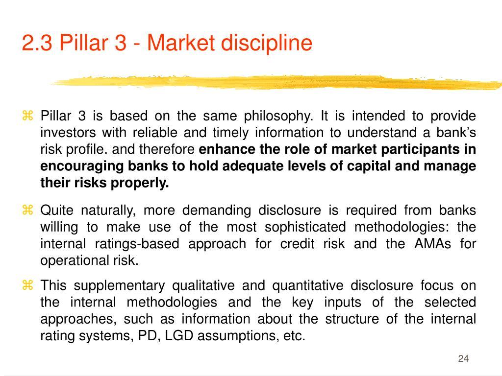 2.3 Pillar 3 - Market discipline