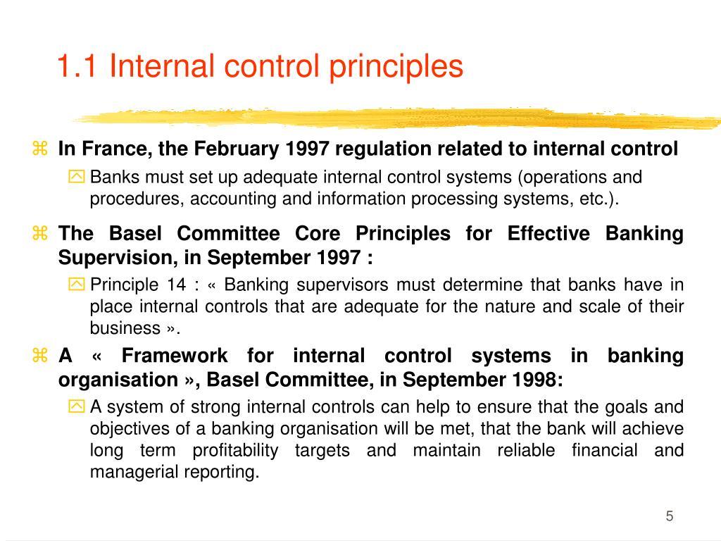 1.1 Internal control principles