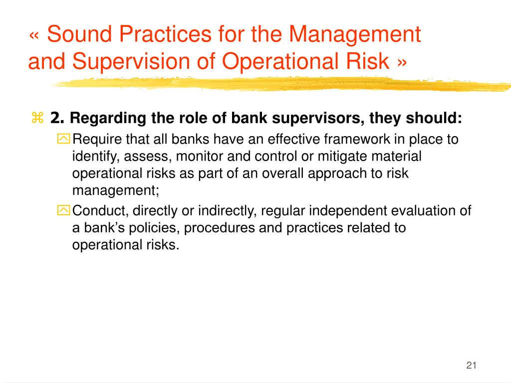 «Sound Practices for the Management and Supervision of Operational Risk»