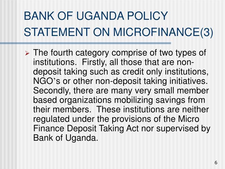 BANK OF UGANDA POLICY STATEMENT ON MICROFINANCE(3)