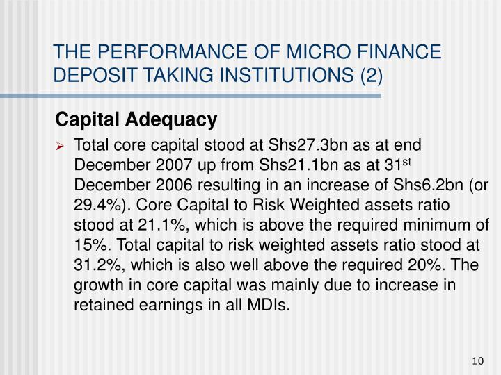 THE PERFORMANCE OF MICRO FINANCE DEPOSIT TAKING INSTITUTIONS (2)