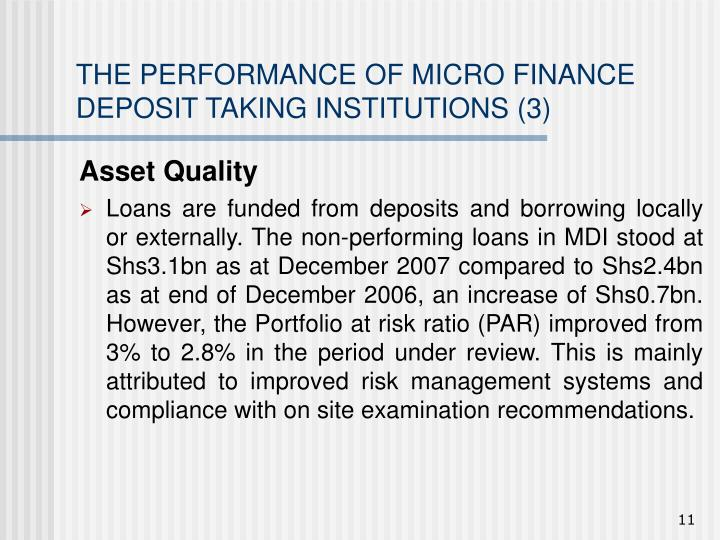 THE PERFORMANCE OF MICRO FINANCE DEPOSIT TAKING INSTITUTIONS (3)