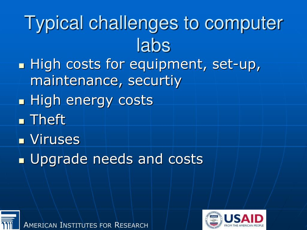 Typical challenges to computer labs