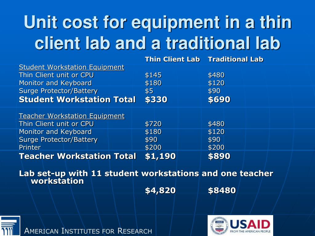 Unit cost for equipment in a thin client lab and a traditional lab