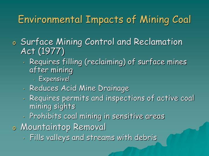 Environmental Impacts of Mining Coal