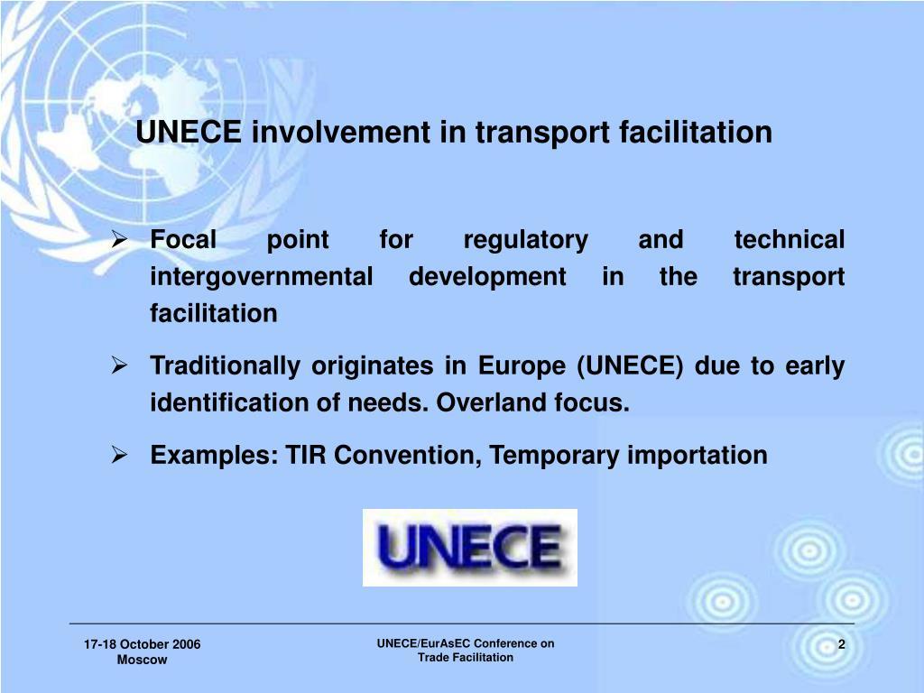 UNECE involvement in transport facilitation