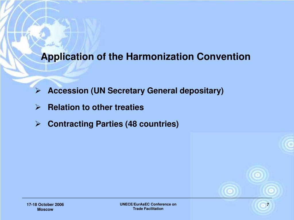 Application of the Harmonization Convention