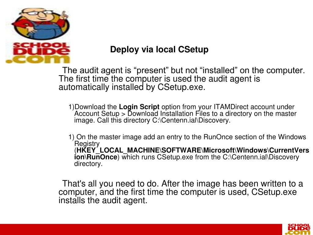 Deploy via local CSetup