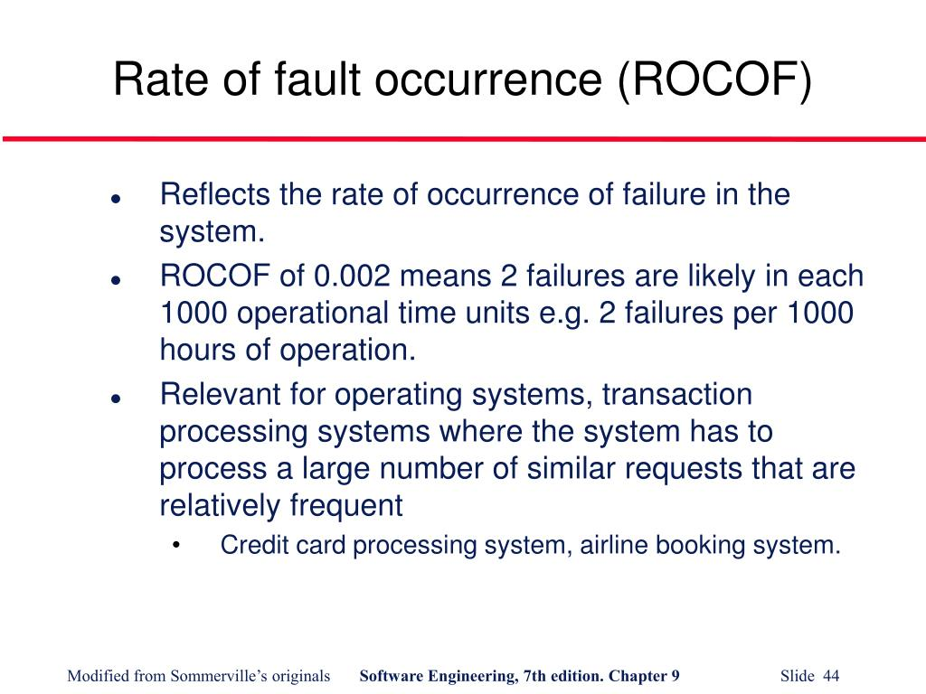 Rate of fault occurrence (ROCOF)