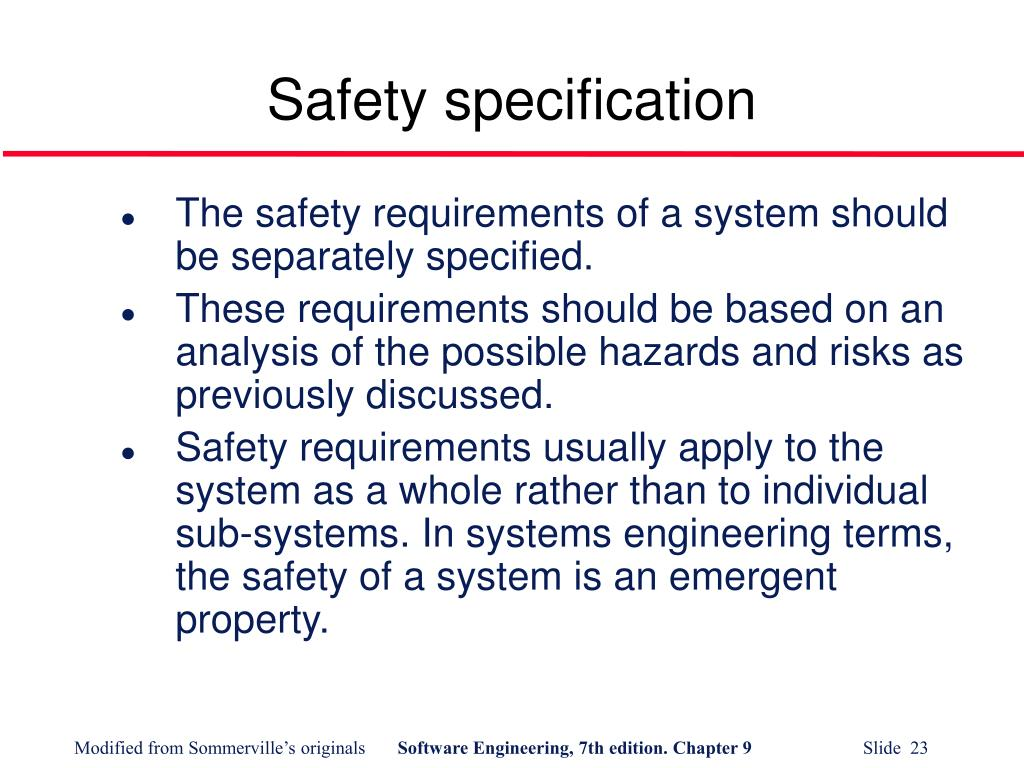 Safety specification