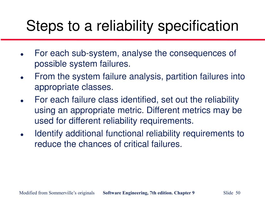 Steps to a reliability specification