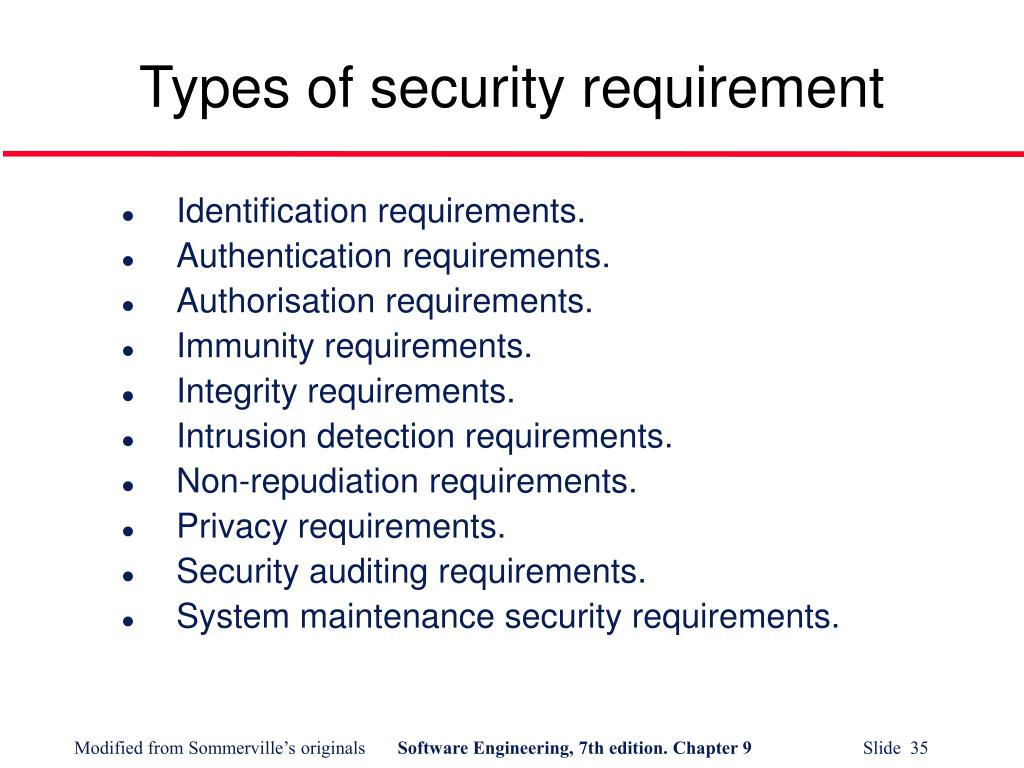 Types of security requirement