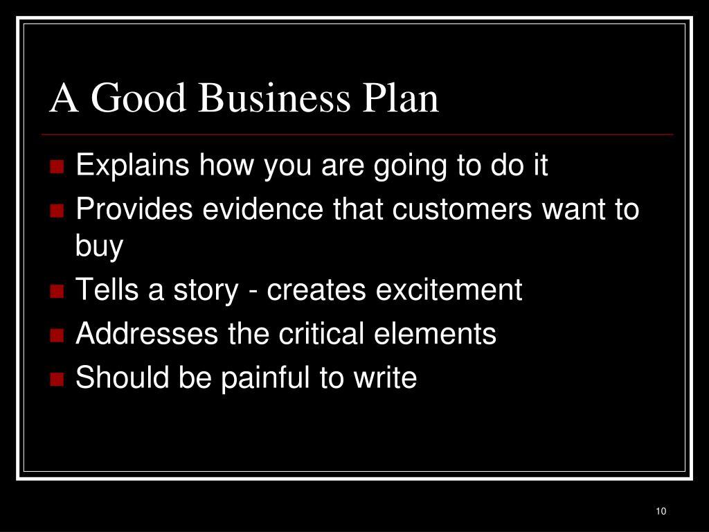 A Good Business Plan