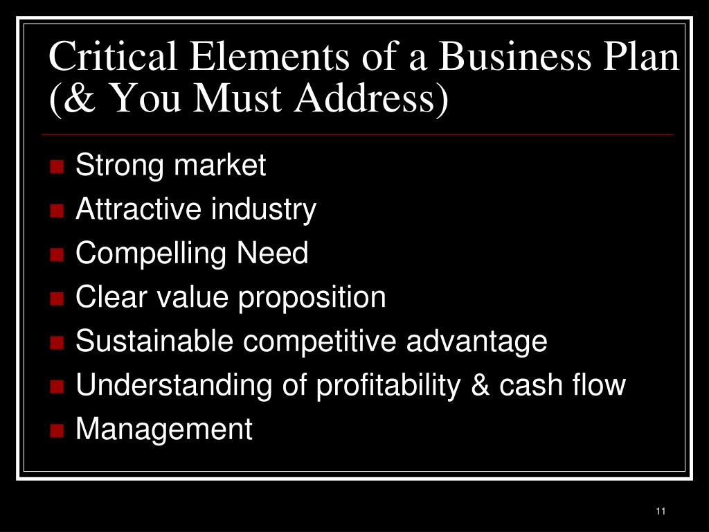 Critical Elements of a Business Plan