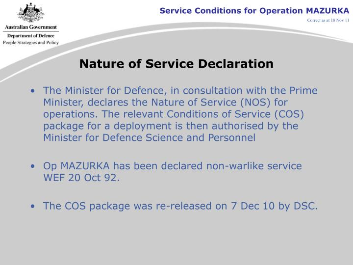 Nature of Service Declaration
