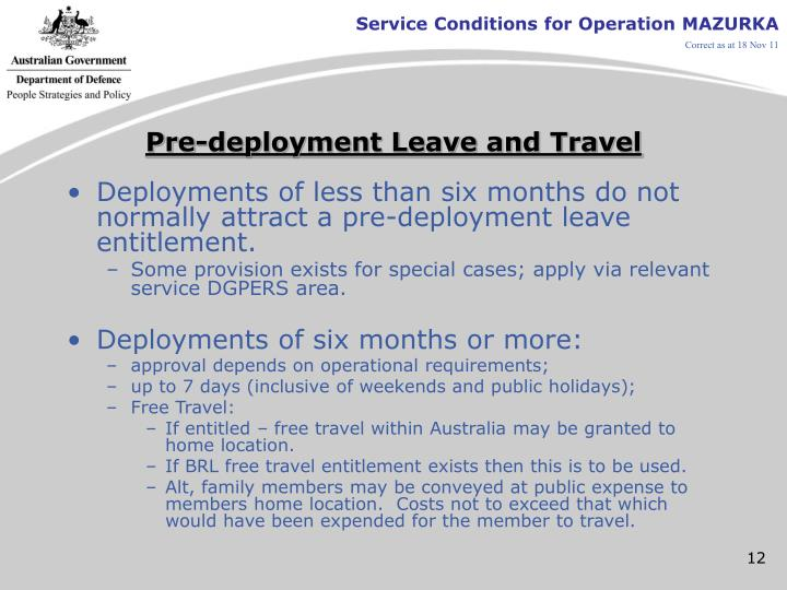 Pre-deployment Leave and Travel