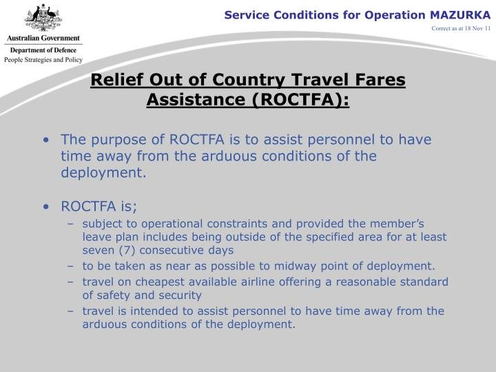 Relief Out of Country Travel Fares Assistance (ROCTFA):