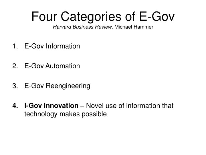 Four categories of e gov harvard business review michael hammer