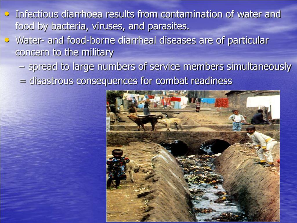 Infectious diarrhoea results from contamination of water and food by bacteria, viruses, and parasites.