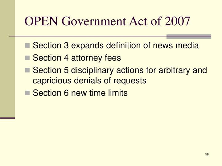 OPEN Government Act of 2007
