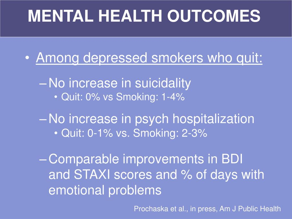 MENTAL HEALTH OUTCOMES