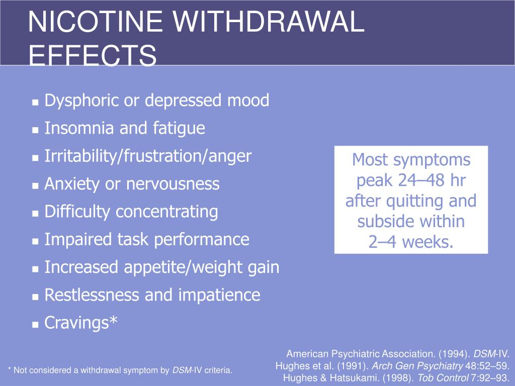NICOTINE WITHDRAWAL EFFECTS