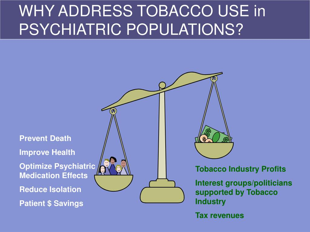 WHY ADDRESS TOBACCO USE in PSYCHIATRIC POPULATIONS?