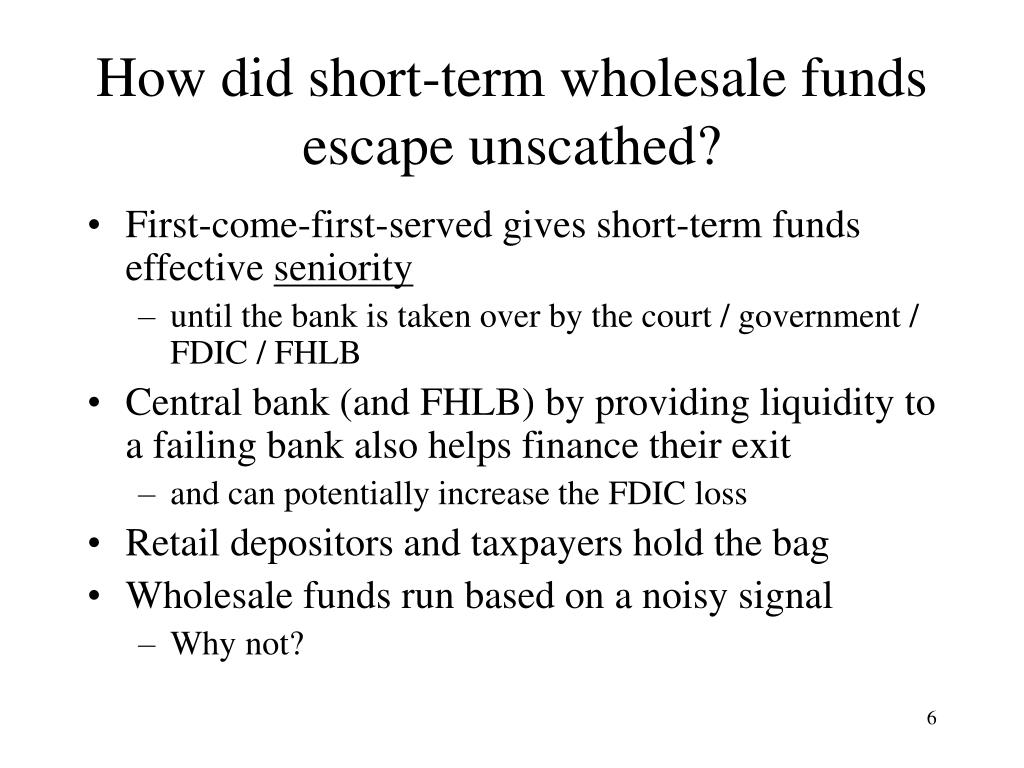 How did short-term wholesale funds escape unscathed?