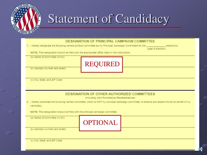 Statement of Candidacy