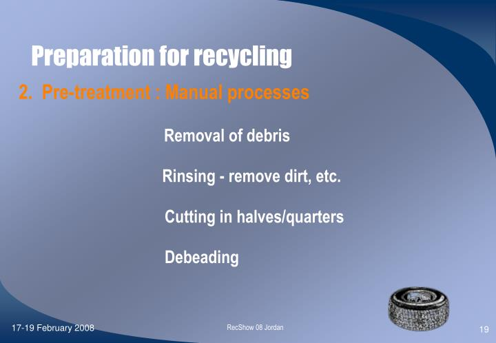 Preparation for recycling