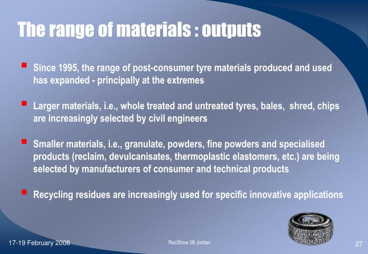 The range of materials : outputs