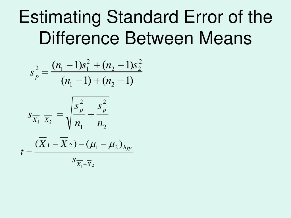 Estimating Standard Error of the Difference Between Means
