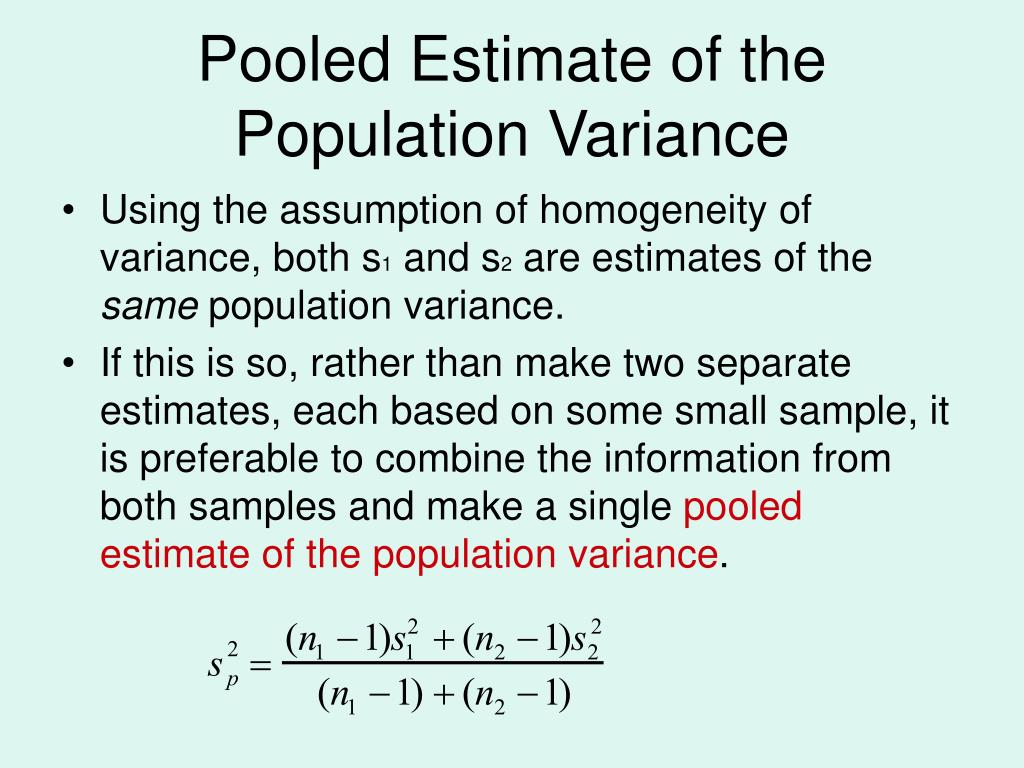 Pooled Estimate of the Population Variance