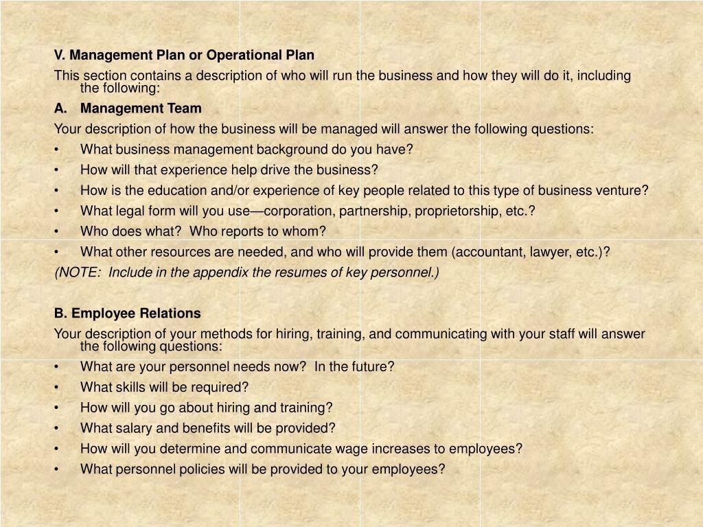 V. Management Plan or Operational Plan