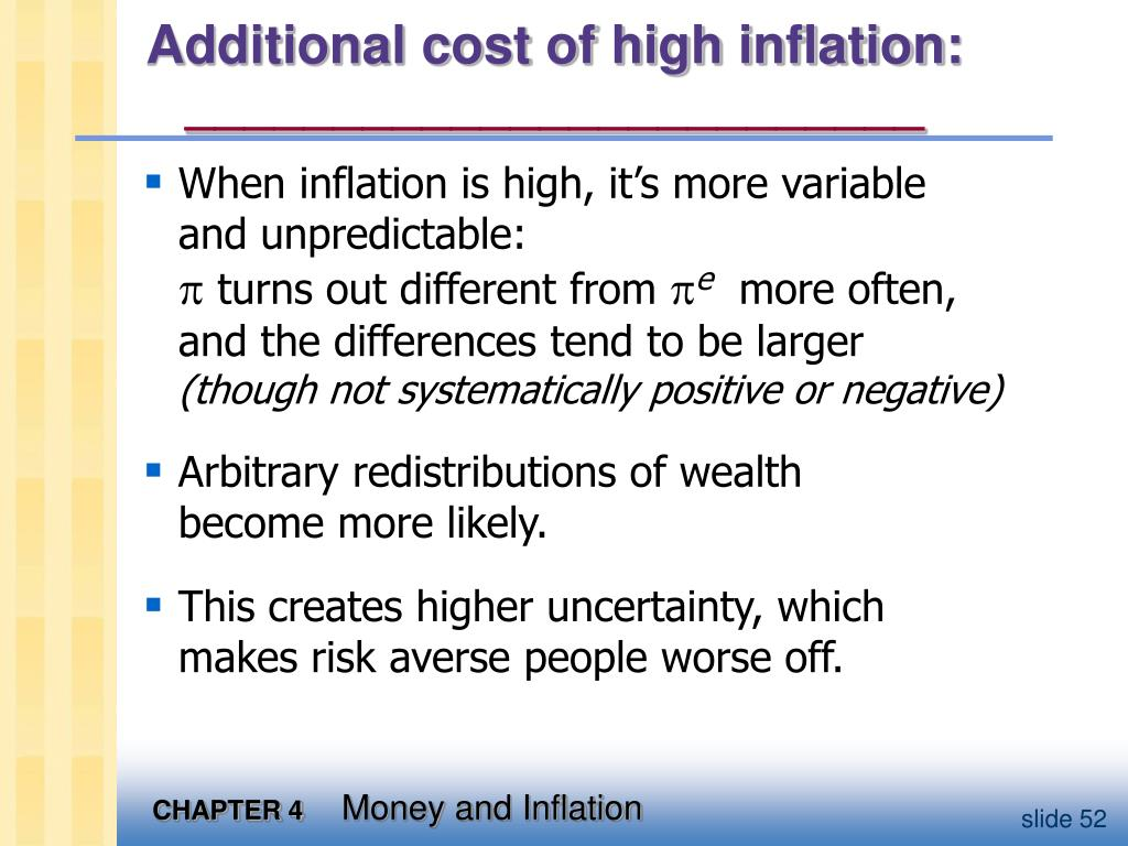 Additional cost of high inflation:
