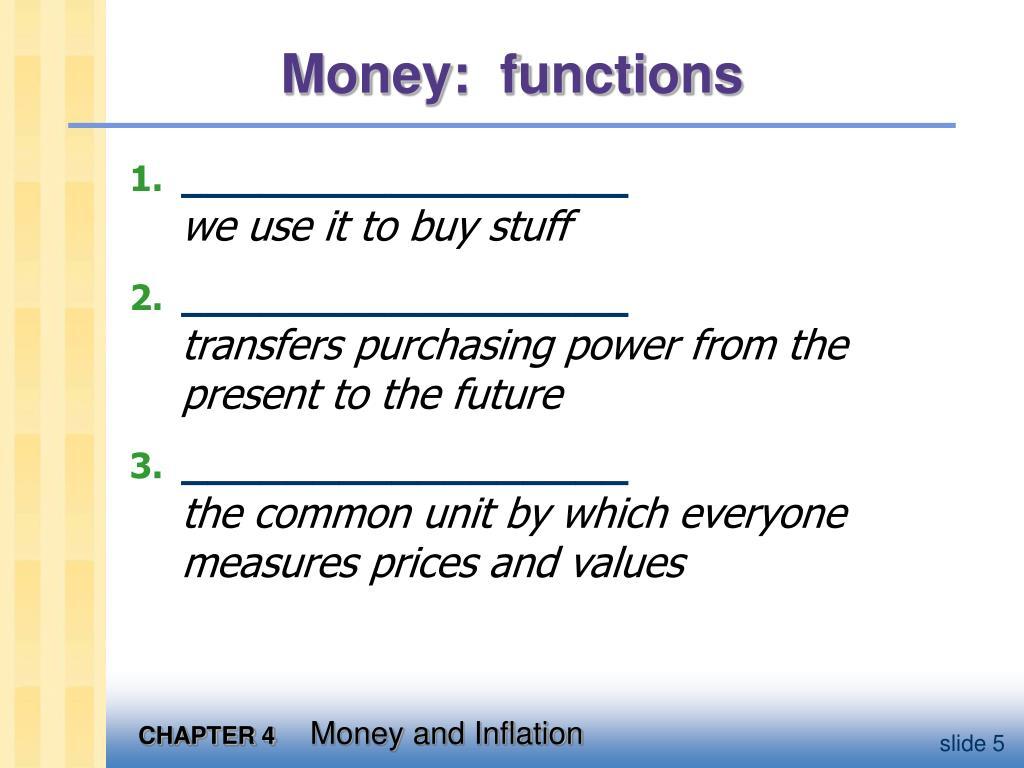 Money:  functions