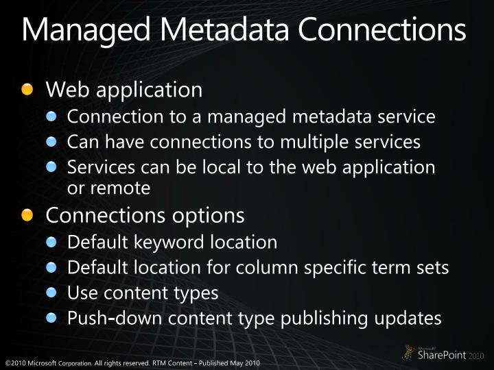 Managed Metadata Connections