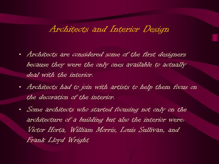 Architects and Interior Design