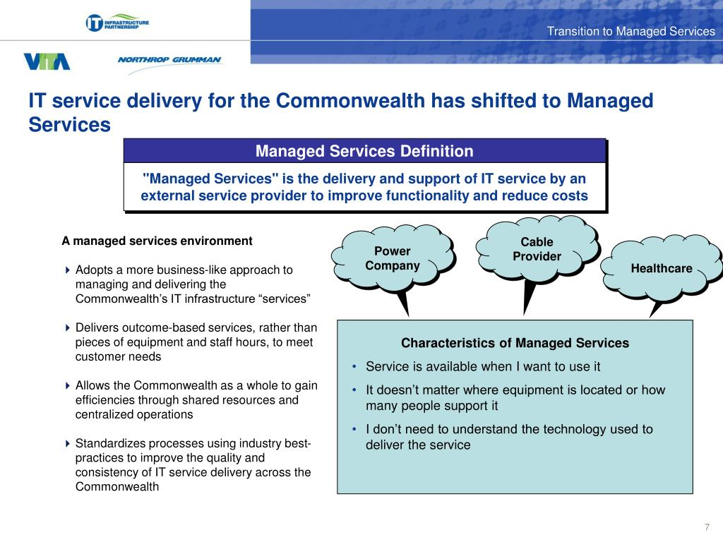IT service delivery for the Commonwealth has shifted to Managed Services