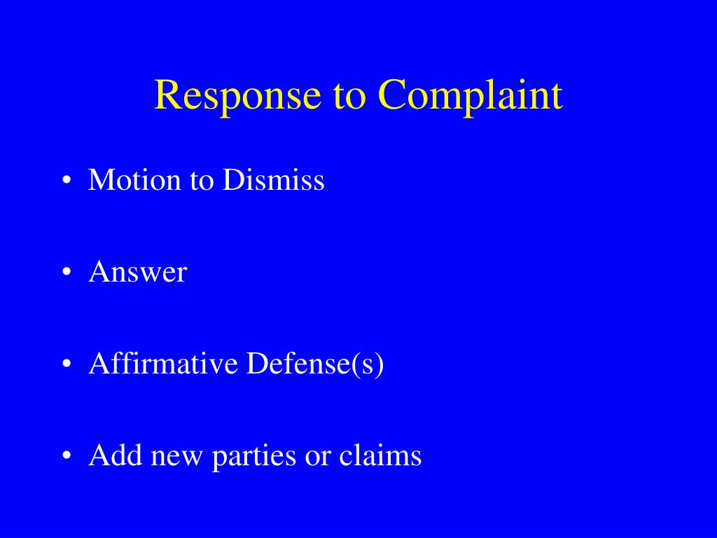 Response to Complaint