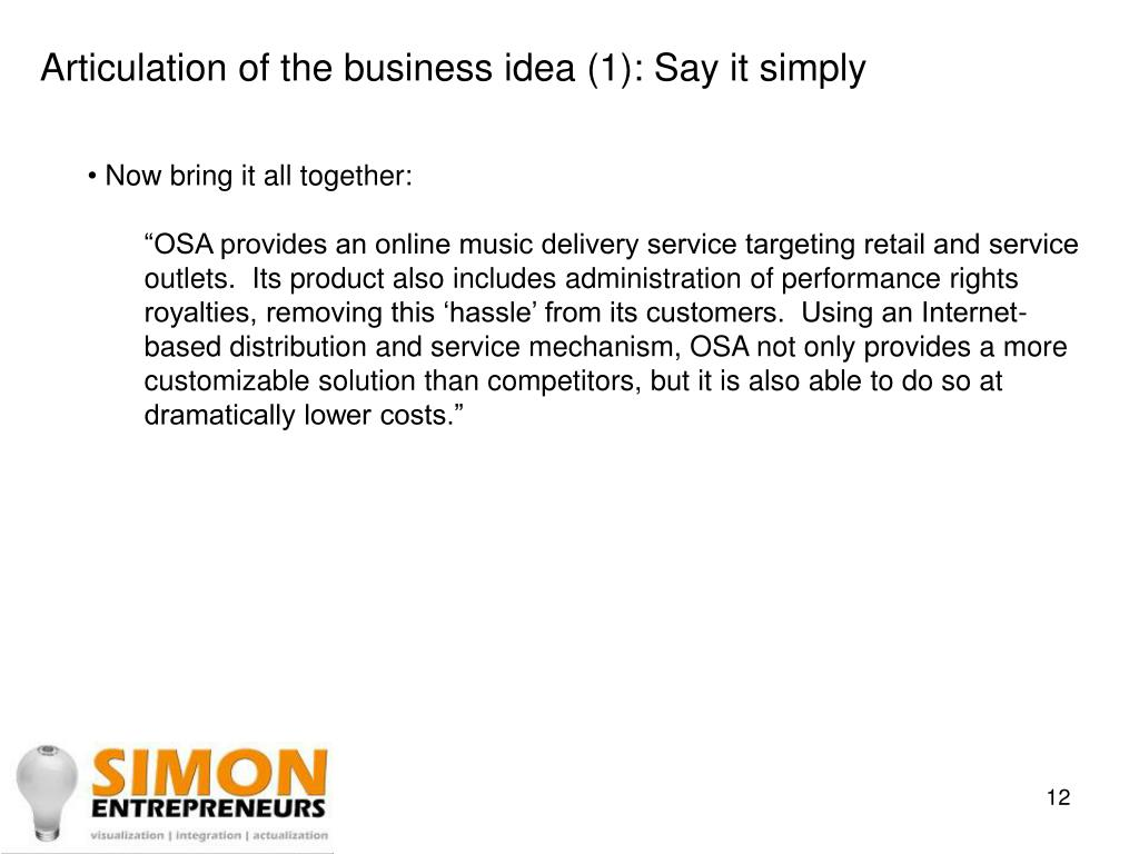 Articulation of the business idea (1): Say it simply