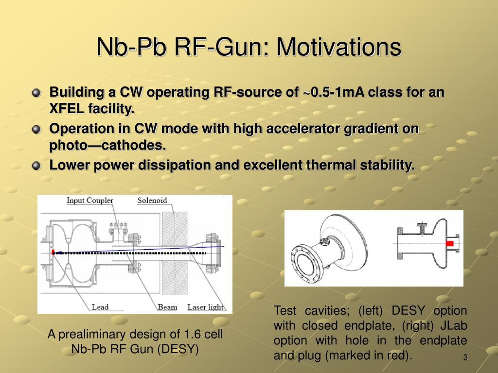 Nb-Pb RF-Gun: Motivations