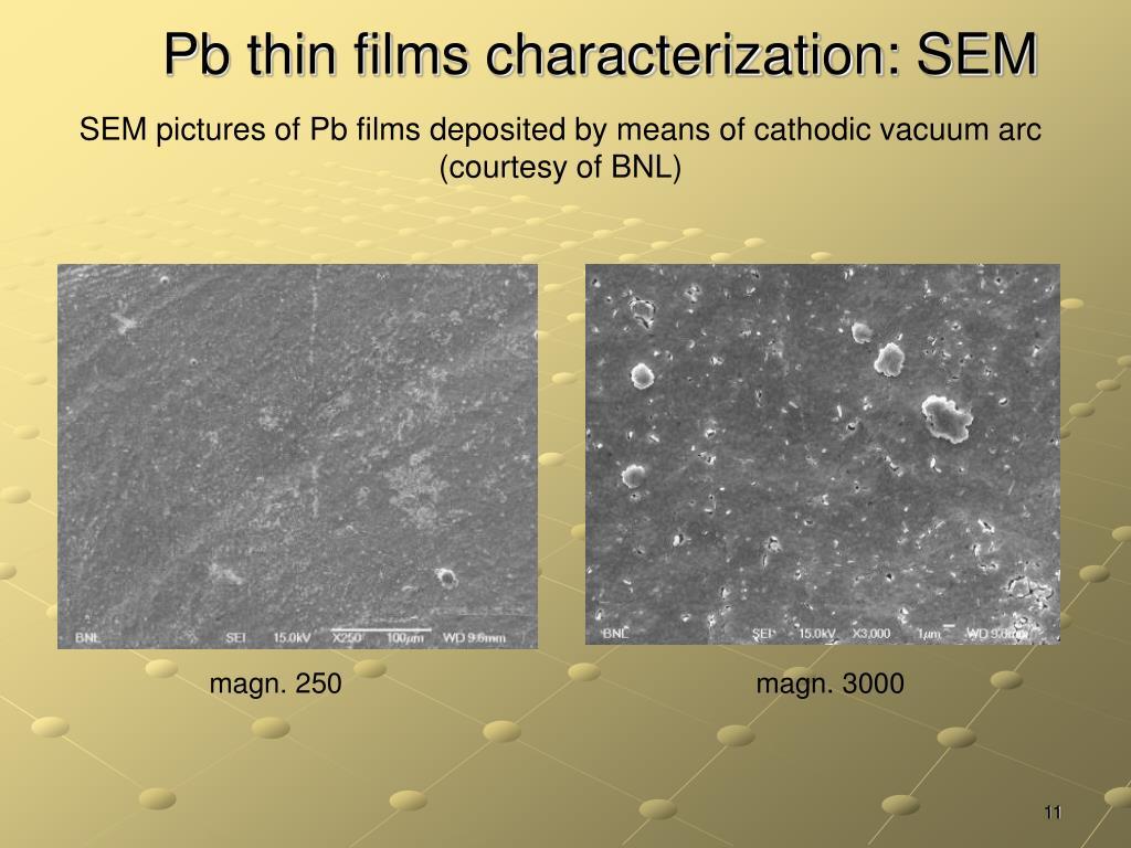 Pb thin films characterization: SEM