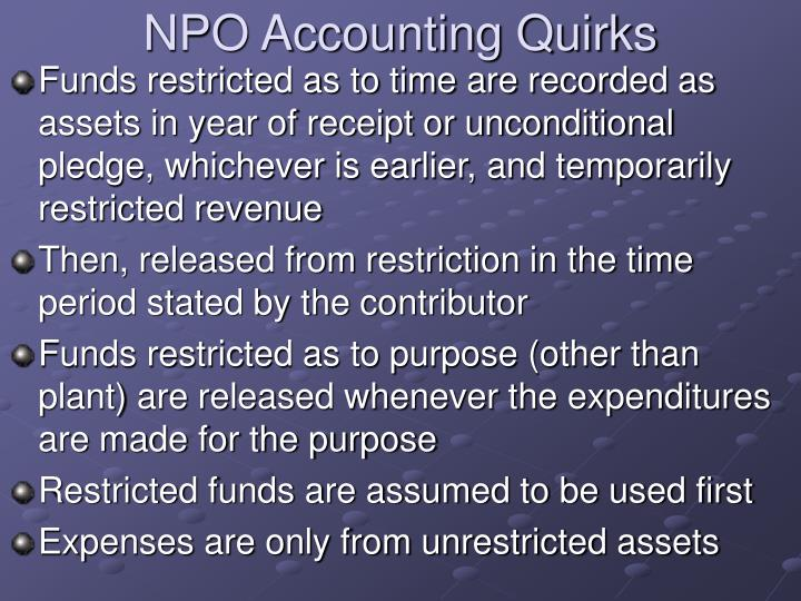 NPO Accounting Quirks