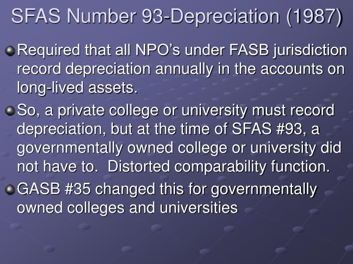 Sfas number 93 depreciation 1987