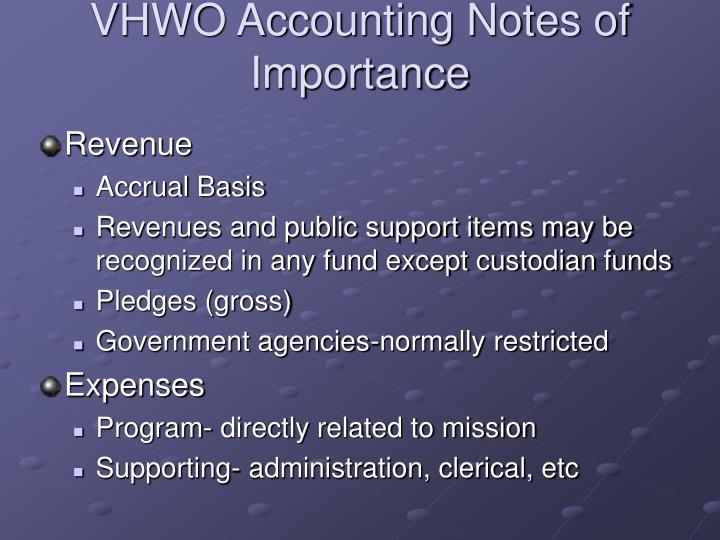 VHWO Accounting Notes of Importance