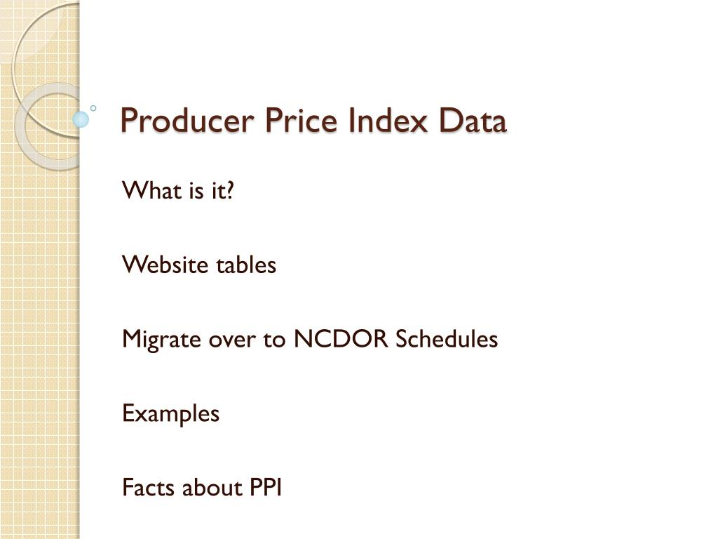 Producer Price Index Data
